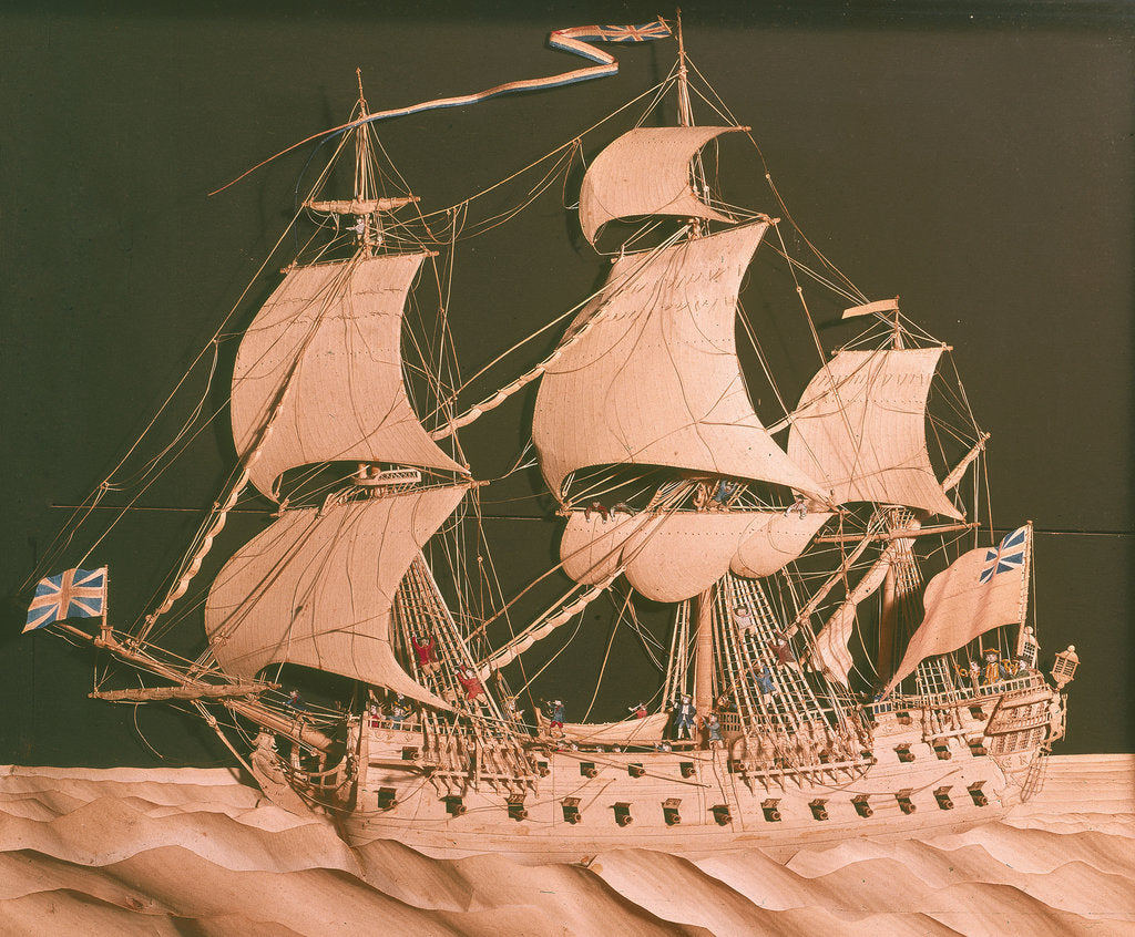 Detail of Paper sculpture of a 64-gun ship by Augustine Walker