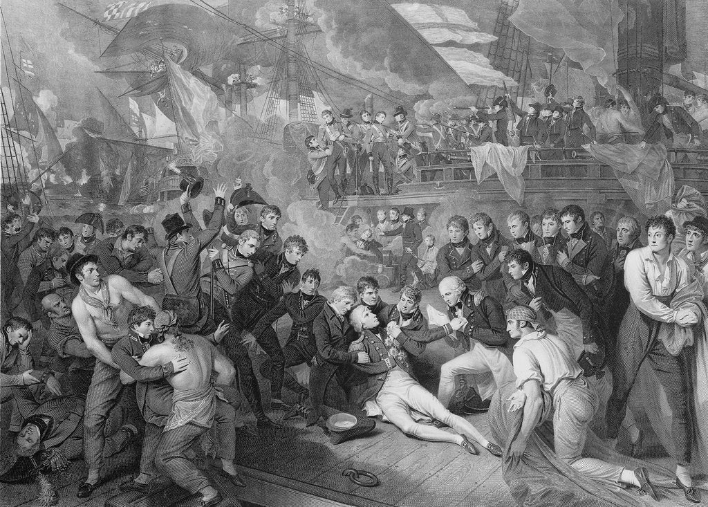 Detail of The death of Horatio Nelson on HMS 'Victory' during the Battle of Trafalgar, 1805 by James Heath