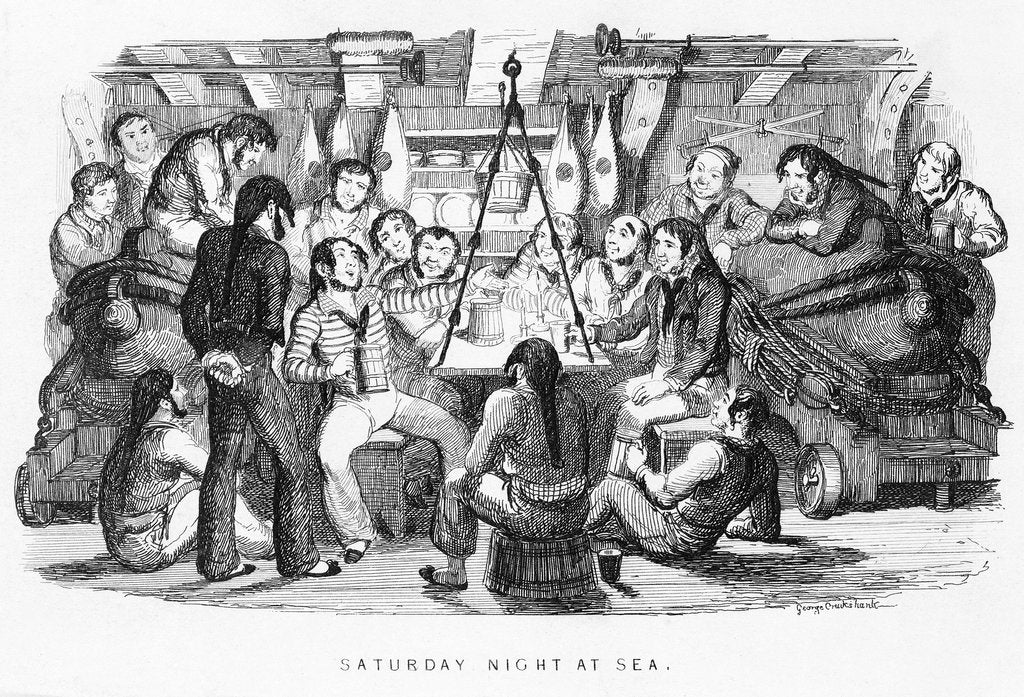 Detail of Saturday night at sea by George Cruikshank