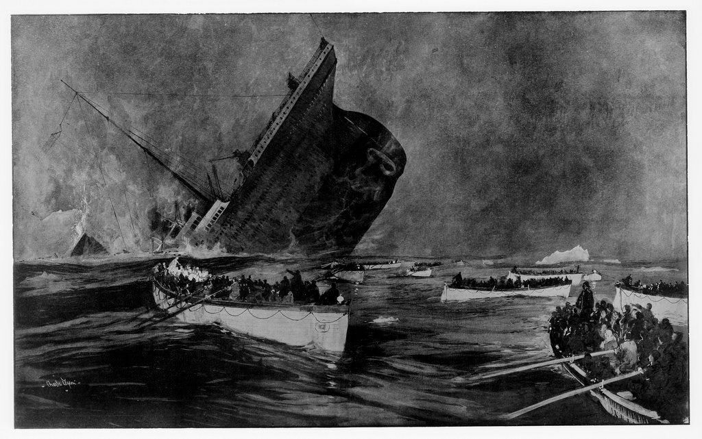 Detail of Loss of RMS 'Titanic', 1912 by Charles Dixon