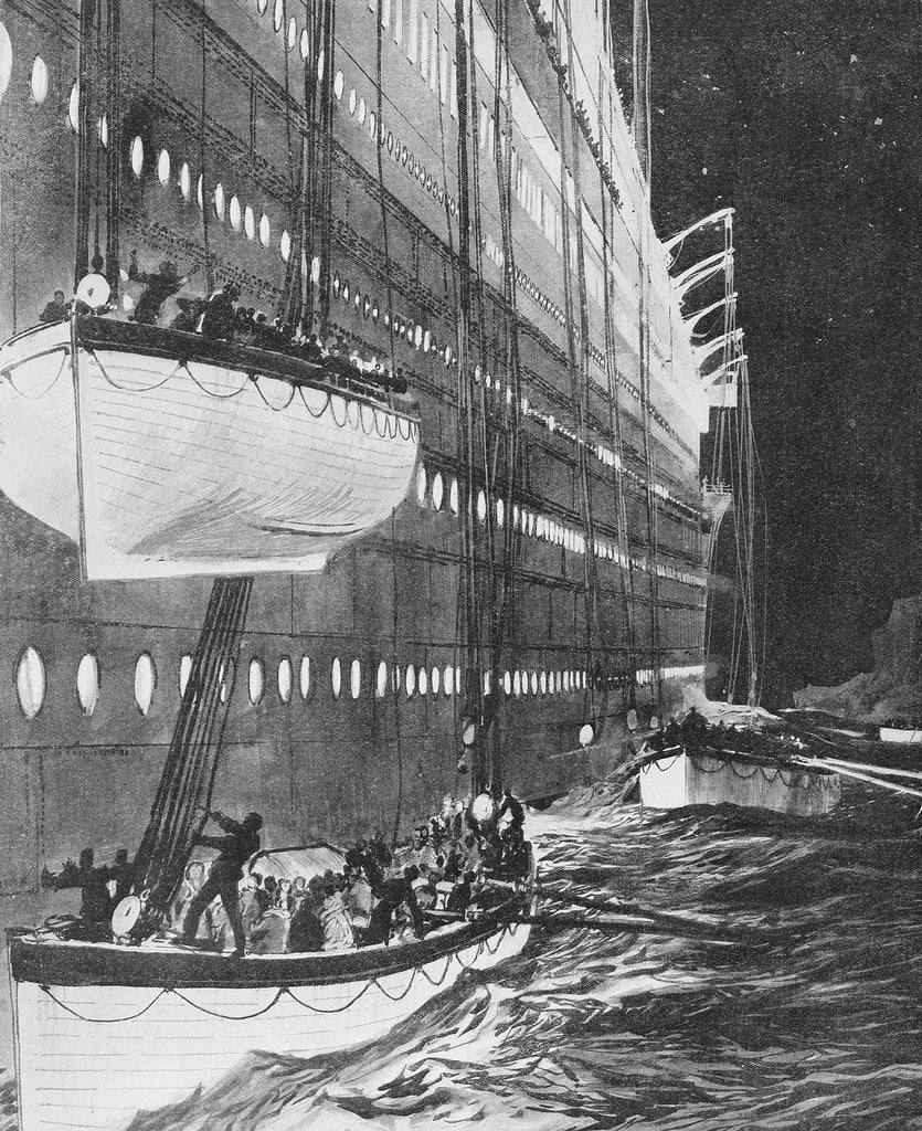 Detail of Starboard side of the 'Titanic' looking forward showing lifeboats leaving by Charles Dixon