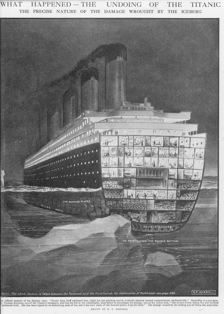 Detail of The undoing of the 'Titanic' - nature of damage wrought by the iceberg by G.F. Morrell