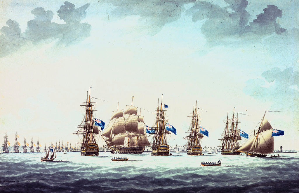 Detail of Cadiz, June 1797: the inshore blockading squadron coming to an anchor; 'Bellerophon', 'Orion', 'Theseus', 'Colos' and 'Irresistable' by Thomas Buttersworth