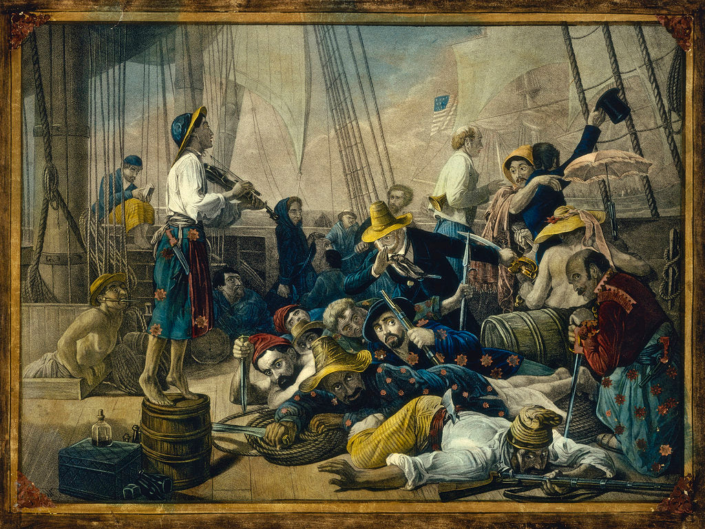 Detail of Pirates dressed in women's clothing attempt to decoy a merchant ship by Auguste-Francois Biard