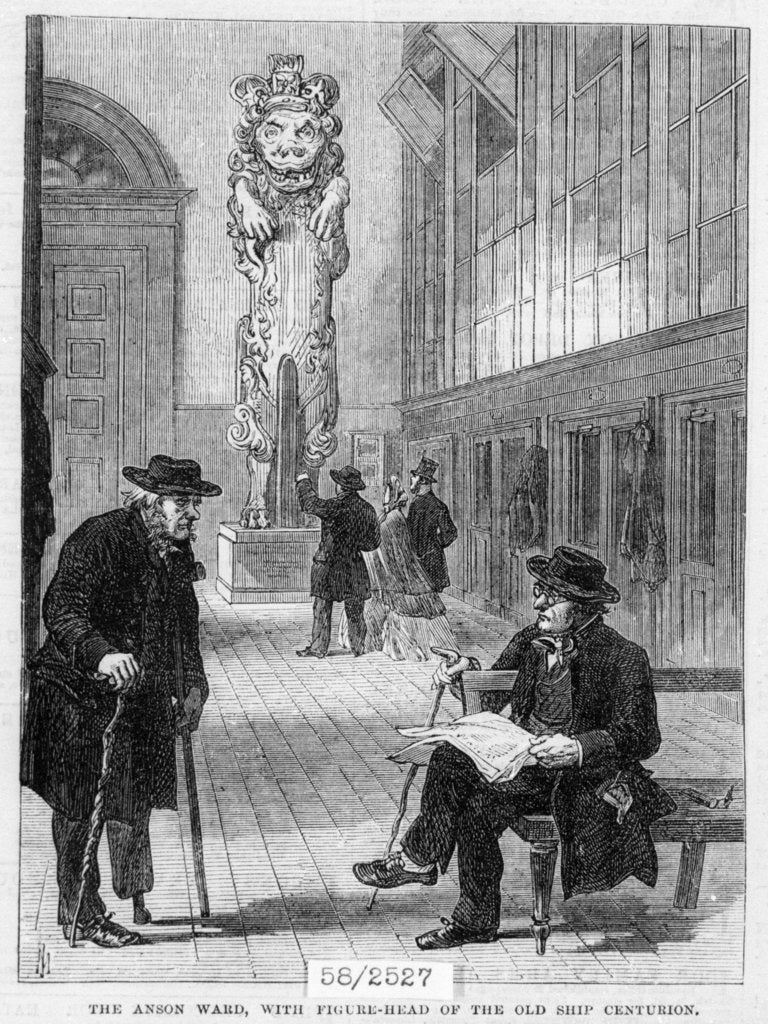 Greenwich pensioners in the Anson Ward, Greenwich Hospital, with figurehead of the old ship 'Centurion' by unknown