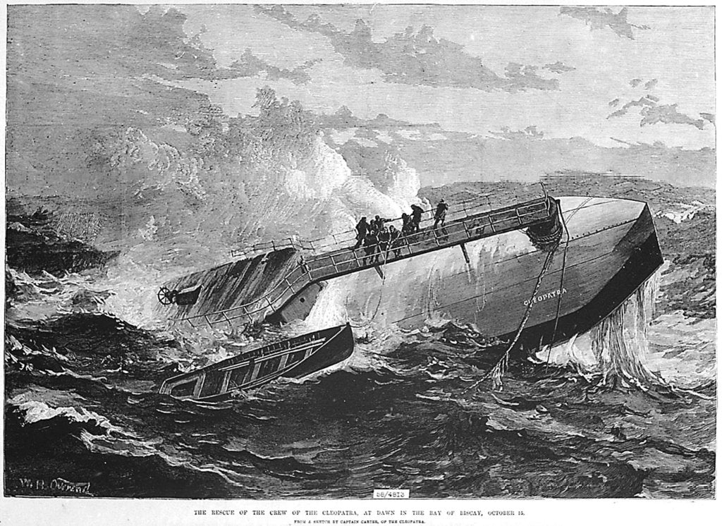 Detail of The rescue of the crew of the 'Cleopatra', at dawn in the Bay of Biscay by unknown