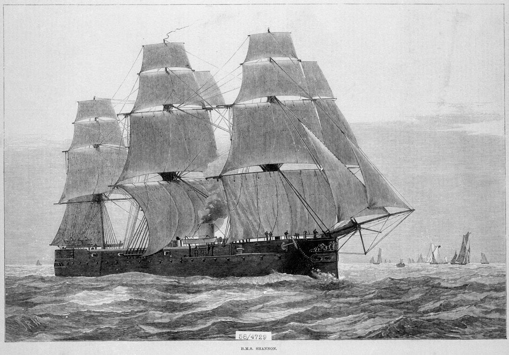 Detail of HMS 'Shannon' (1875) under way with full sail by unknown