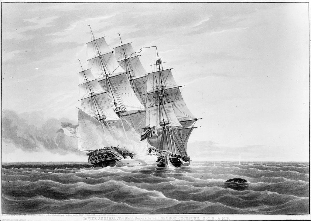 Representing an action with the Spanish Slave frigate 'Velos Passahera' captured by boarding by H.M. Ship 'Primrose' 6th September 1830 by William John Huggins
