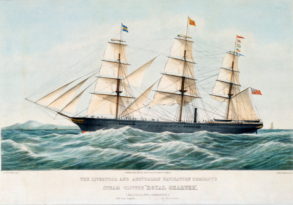 Detail of The Liverpool and Australian Navigation Company's steam clipper 'Royal Charter' by Samuel Walters