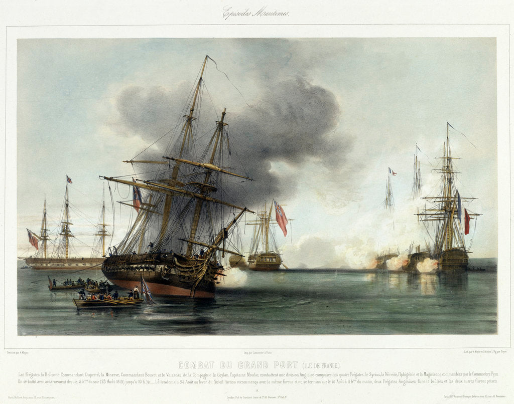 Detail of Episodes Maritimes: Combat du Grand Port (Ile de France), 23-25 August 1810 by A. Mayer