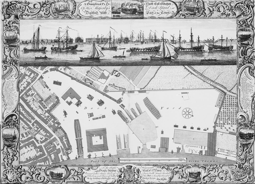 Detail of A Geometrical Plan, & North East Elevation Of His Majesty's Dock Yard, at Deptford, with Part of the Town &c by Thomas Milton; Pierre Charles Canot