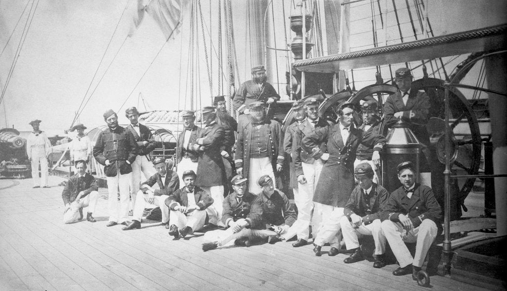 Detail of Crew assembled on the upper deck of iron-armoured ship HMS 'Warrior' (1860) by unknown