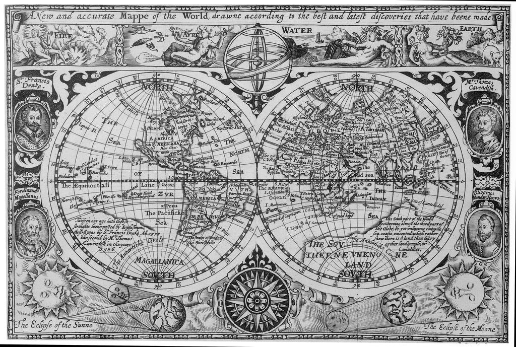 Detail of Early 17th century map of the world, after Mercator, with inset portraits of explorers (Drake, Magellan, Thomas Cavendish and Oliver van der Nort), the elements, and eclipses by unknown