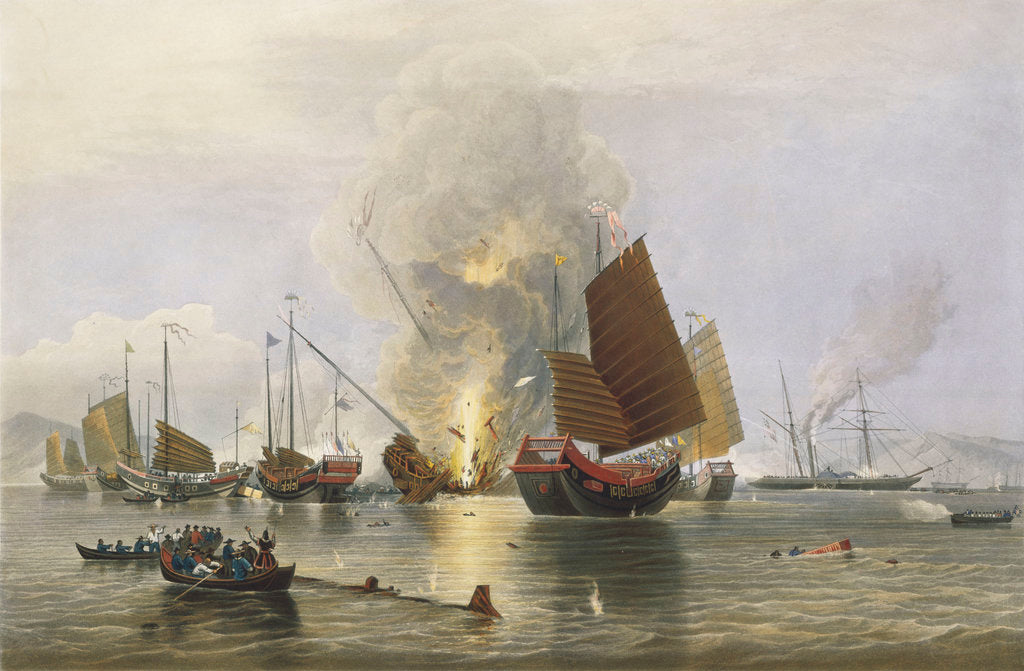 Detail of 'Nemesis' destroying Chinese junks in Anson's Bay, 1841 by Edward Duncan