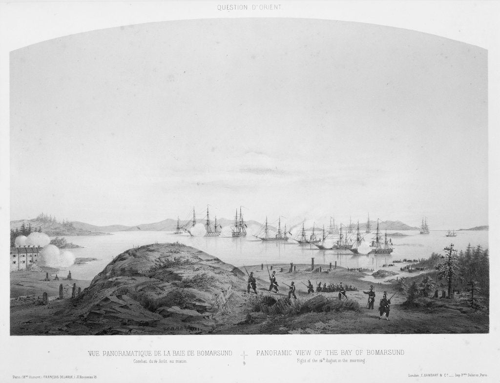 Detail of Panoramic view of the Bay of Bomarsund: fight of the 14 August 1854, in the morning by Louis Le Breton