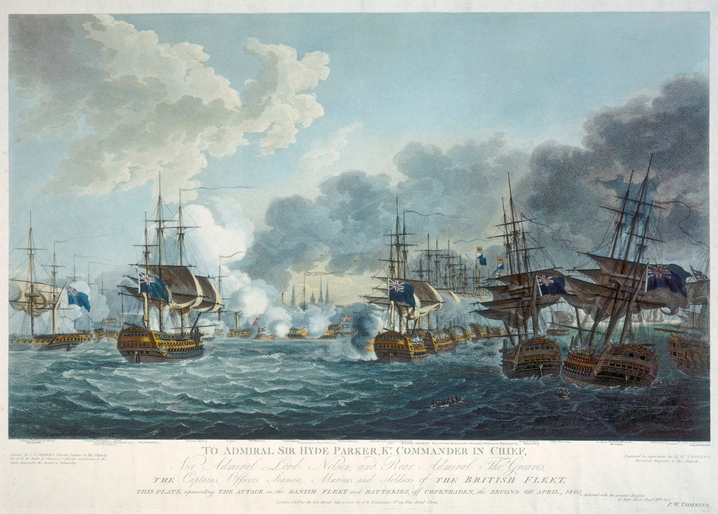 Detail of Attack on the Danish fleet and batteries at the Battle of Copenhagen, 2 April 1801 by J.T. Serres