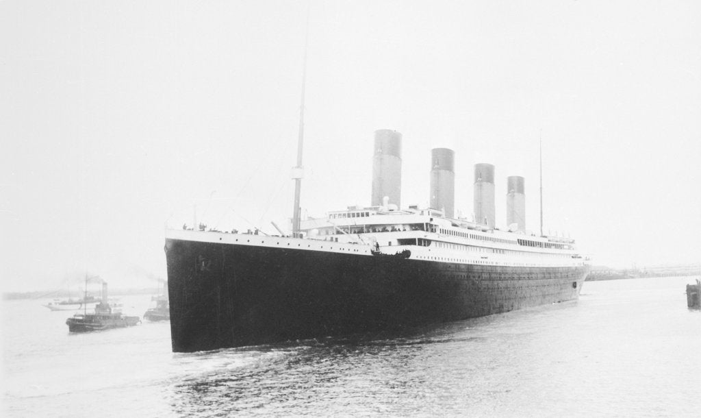 Detail of Passenger liner 'Titanic' (Br, 1912) Oceanic Steam Nav Co Ltd, (Ismay Imrie & Co Ltd, managers) (White Star Line): leaving Southampton by unknown