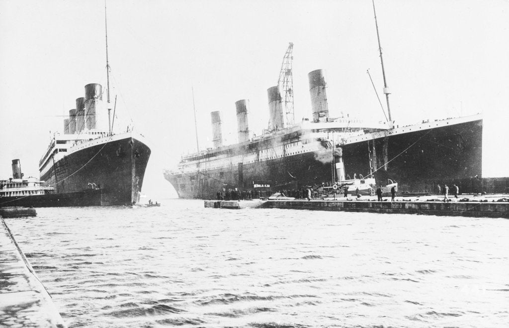 Detail of Passenger liner 'Titanic' (Br, 1912) Oceanic Steam Nav Co Ltd, (Ismay Imrie & Co Ltd, managers) (White Star Line): at Belfast with 'Olympic', tip of foremast out of picture by unknown
