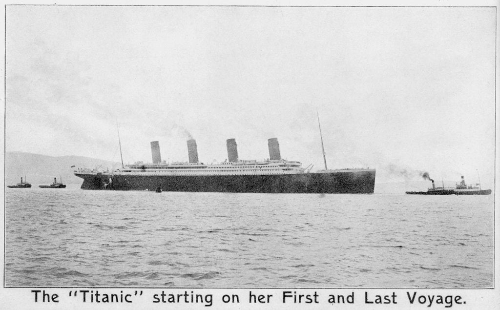 Detail of Passenger liner 'Titanic' (Br, 1912) Oceanic Steam Nav Co Ltd, (Ismay Imrie & Co Ltd, managers) (White Star Line): under tow leaving Belfast by unknown