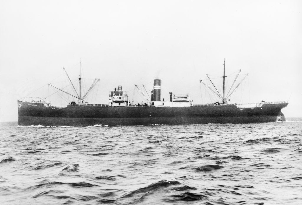 Detail of SS 'Gryfevale' portside view, circa 1929 by unknown