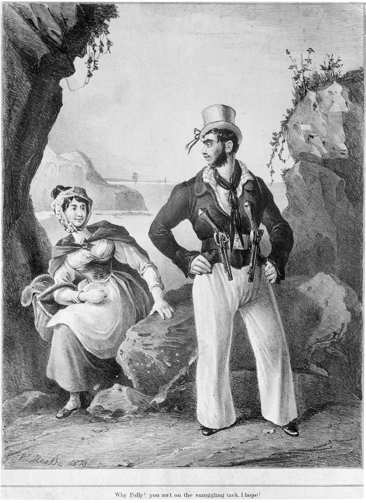 Why Polly! you an't on the smuggling tack, I hope! (Armed sailor addressing lady with a basket) by William Heath