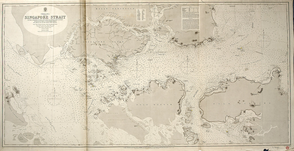 Detail of China Sea SINGAPORE STRAIT By Staff Commander JW Reed Navg Lieuts TH Tizard... Assisted by the Officers of HMS Rifleman 1865-69 by HM Admiralty; Davies Bryer & Company; Staff Commander John William Reed; Captain Thomas Henry Tizard