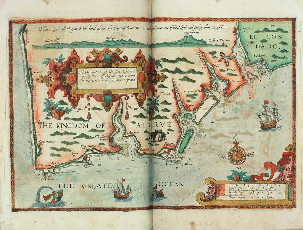 Detail of A description of the sea coastes, of the land of Algarbe, and a parte of the Condado with their shew & opening by Lucas Janz Waghenaer