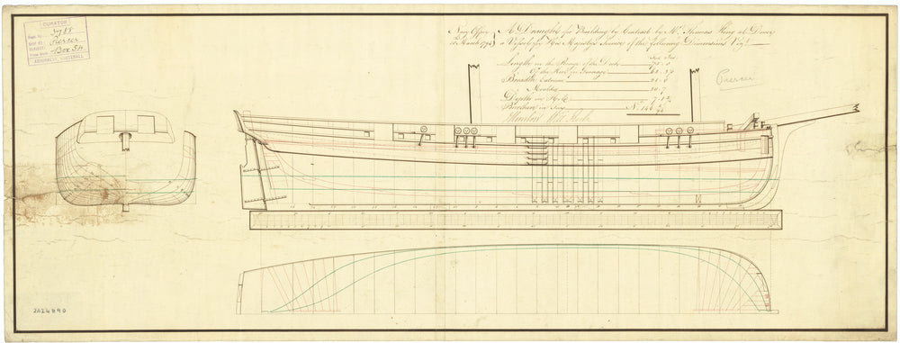 Lines plan for 'Piercer' (1794)