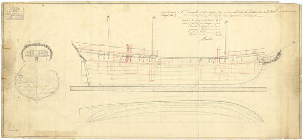 Lines and profile plan for 'Rattlesnake' (1781) and Cormorant (1781)