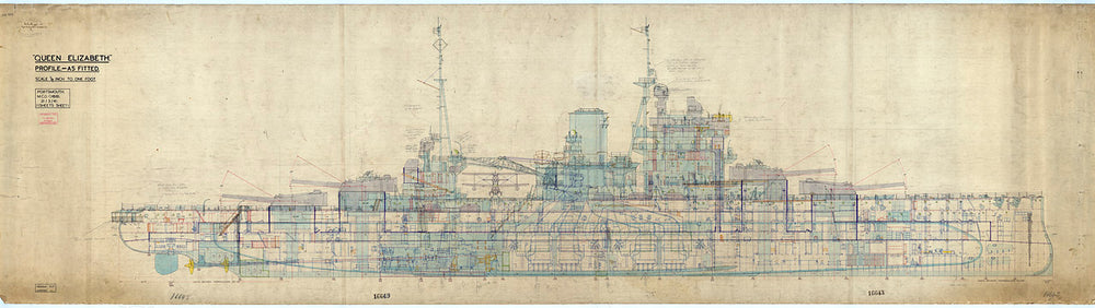 Profile plan for HMS 'Queen Elizabeth' (1913), as fitted 1941