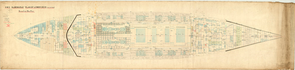 Lower deck plan for HMS 'Albermarle' (1901) as fitted 1903, modifications 1909 and 1913