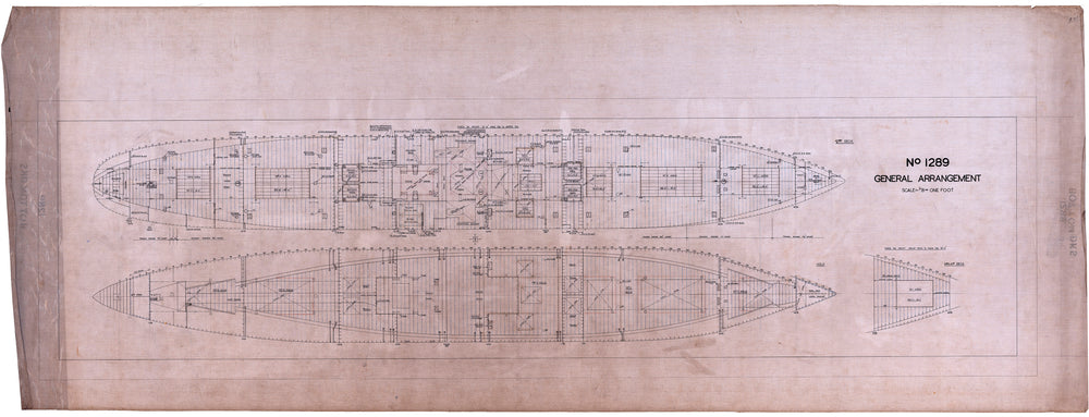 Lower deck and hold plan for SS 'City of Agra' (1936)