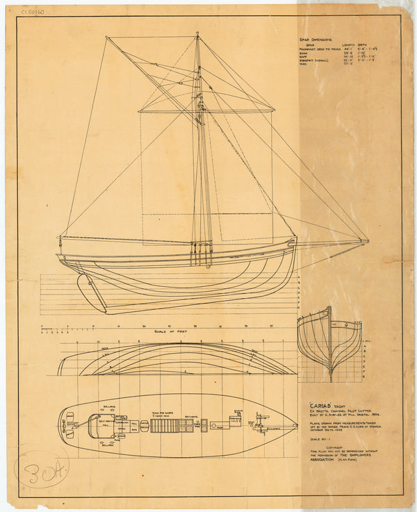 Lines & rigging plan for yacht 'Cariad' (1904) ex Bristol channel pilot cutter