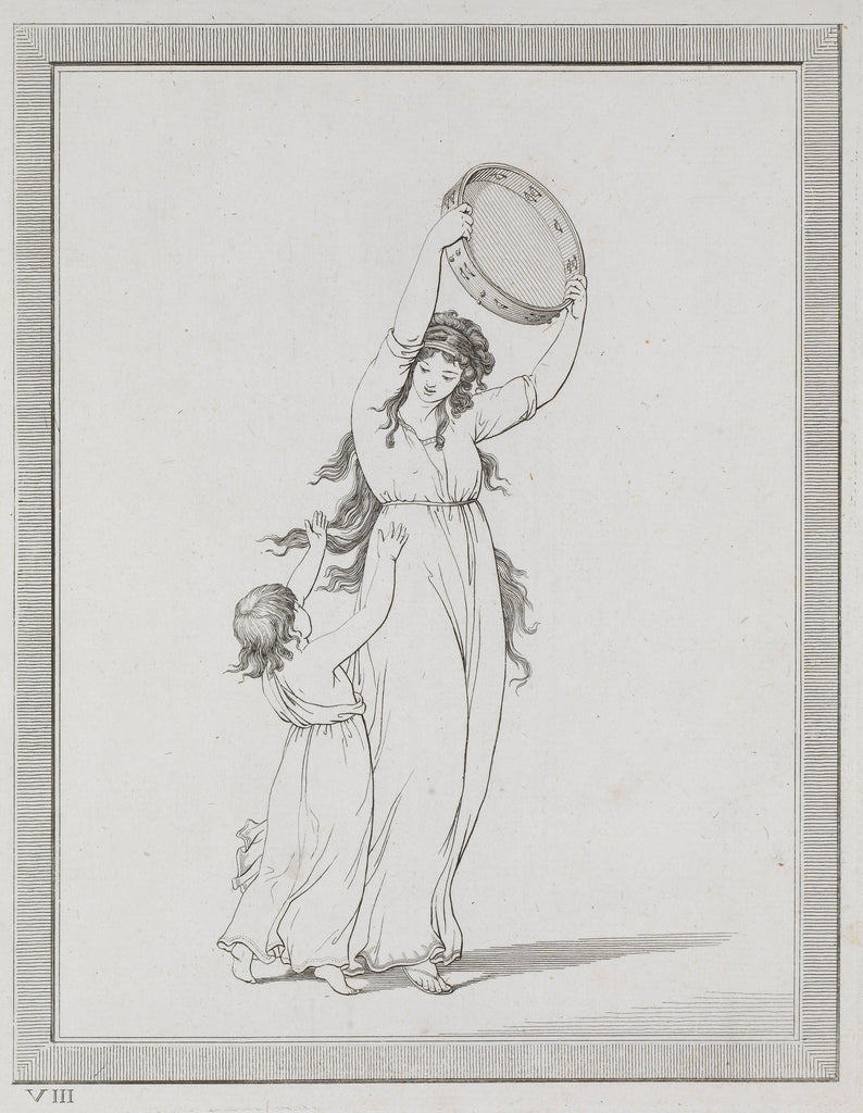Detail of Lady Emma Hamilton and a child in a classical pose, holding a tambourine above her head by Frederick Rehberg