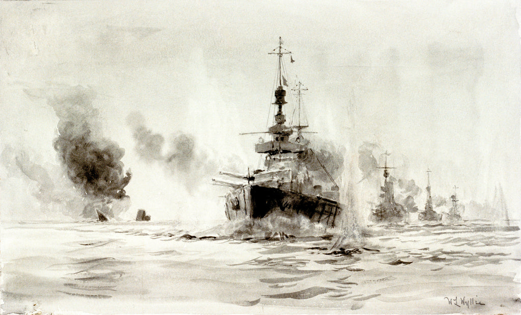 Detail of Study of the Battle of Jutland, 31st May 1916: HMS 'Lion' leading battle-cruisers past the wreck of 'Invincible', about 18.40 by William Lionel Wyllie