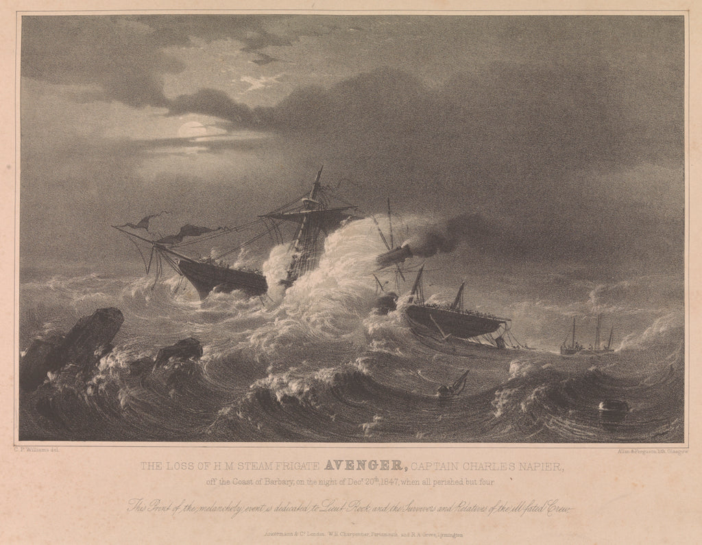 Detail of The loss of HM Steam Frigate 'Avenger', 1847 by CP Williams