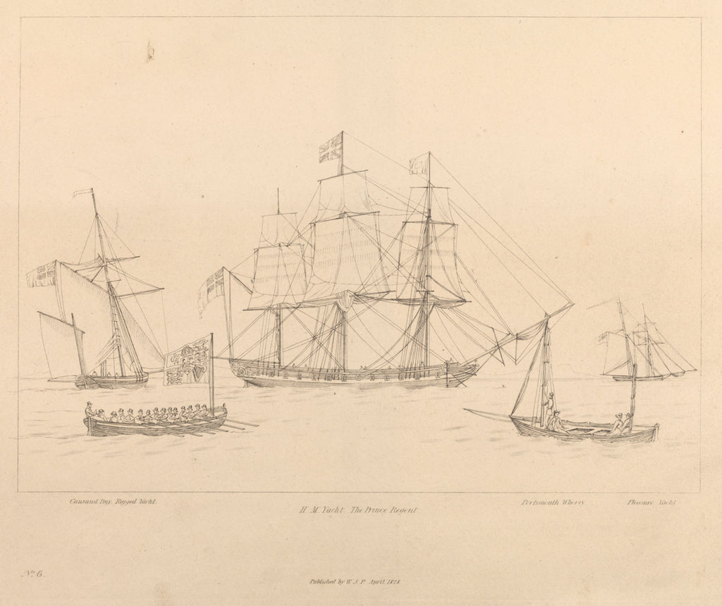 Detail of HM Yacht The Prince Regent and her ship's boat by unknown