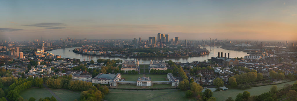 Detail of Panoramic view from General Wolfe statue at the Royal Observatory by National Maritime Museum Photo Studio