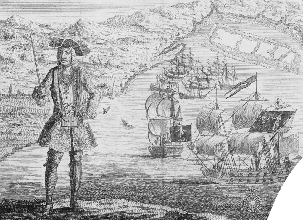 Detail of Captain Bartholomew Roberts, pirate, at Whydah by B. Cole
