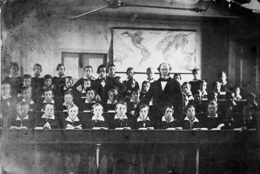 Detail of Mr John Riddle, Headmaster of the Upper Nautical School, Greenwich Hospital, with his pupils in 1855 by unknown