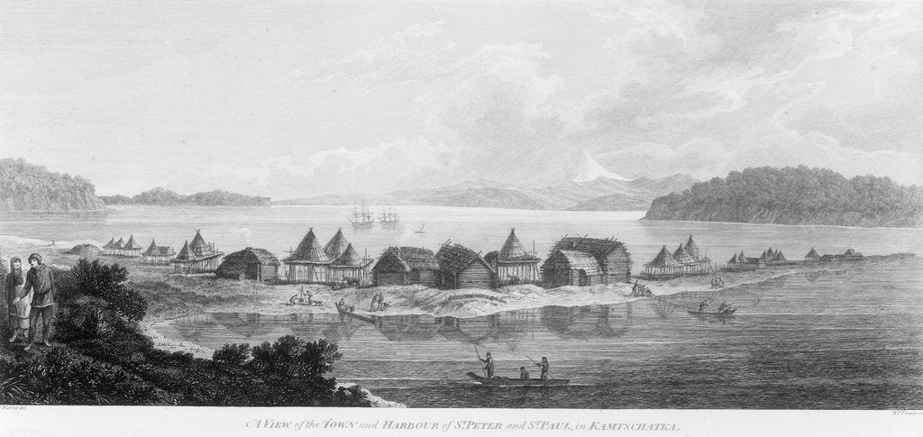 A view of the town and harbour of St Peter and St Paul in Kamtschatka by John Webber