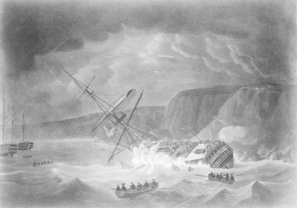 Detail of Loss of His Majesty's Ship 'Venerable'... Shipwreck on the Night of the 24th November 1804 on the Rocks in Torbay by John Theophilus Lee
