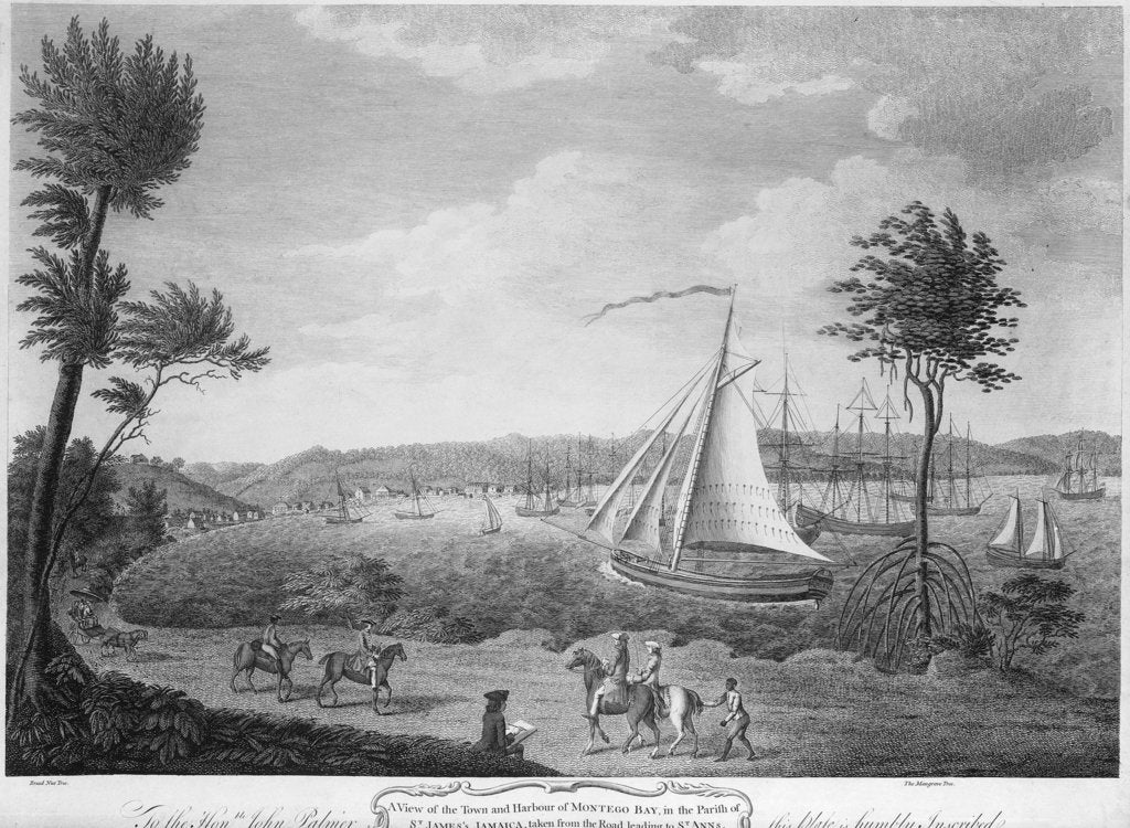 Detail of A view of the town and harbour of Montego Bay, in the parish of St James, Jamaica, taken from the road leading to St Anns by unknown
