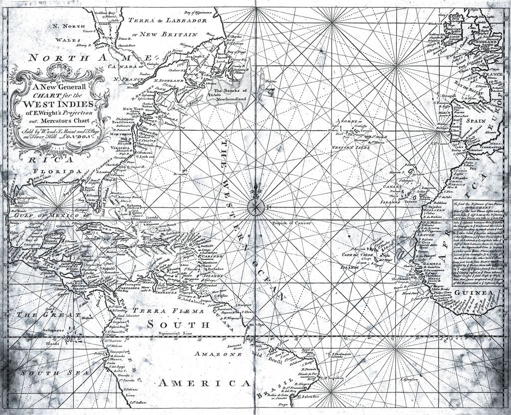Detail of Map of the North Atlantic by Mount and Page by Mount