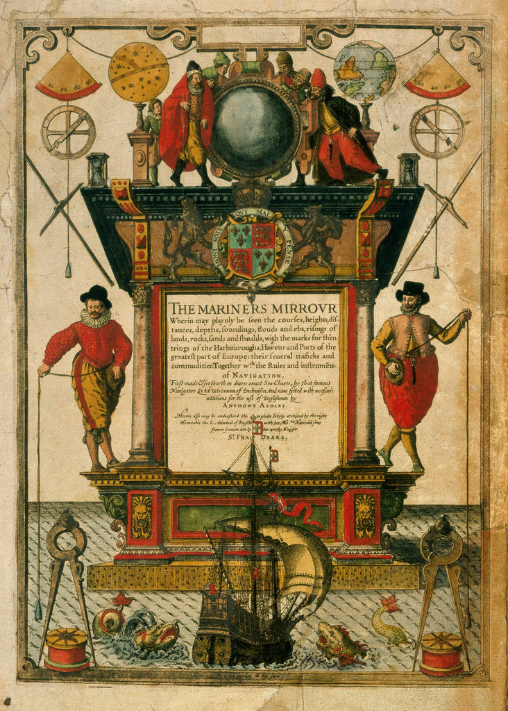 Detail of Frontispiece of 'The Mariner's Mirror' (1588) written by Lucas Jansz Waghenaer (1533-1606) by Theodore de Bry