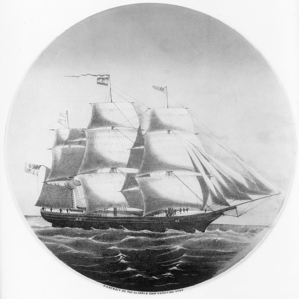 Detail of Portrait of the clipper ship 'Shooting Star' by unknown