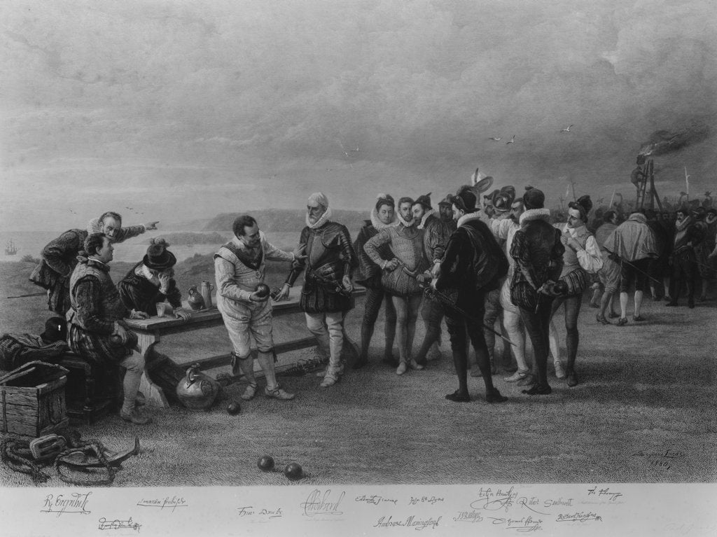 Detail of Francis Drake playing bowls on Plymouth Hoe, as the Spanish Armada is sighted, 1588 by Seymour Lucas
