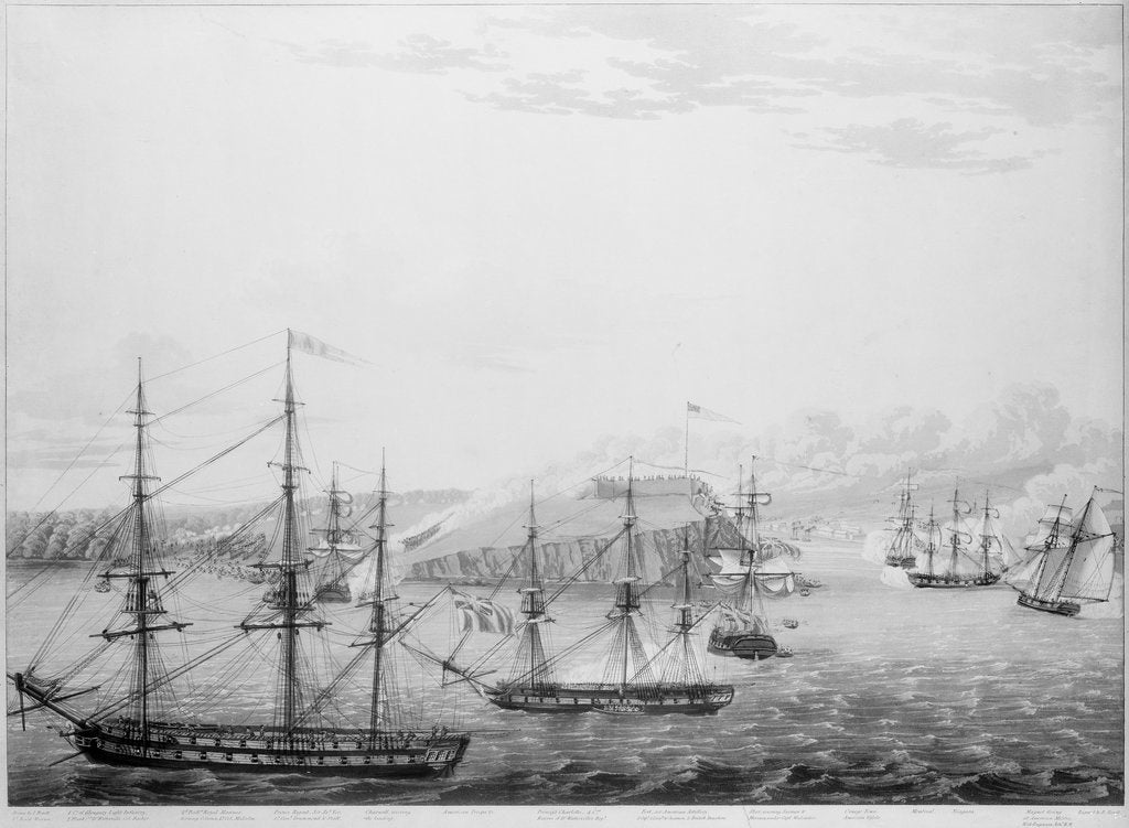 Detail of Attack on Fort Oswego, Lake Ontario, 6 May 1814 by Robert Havell