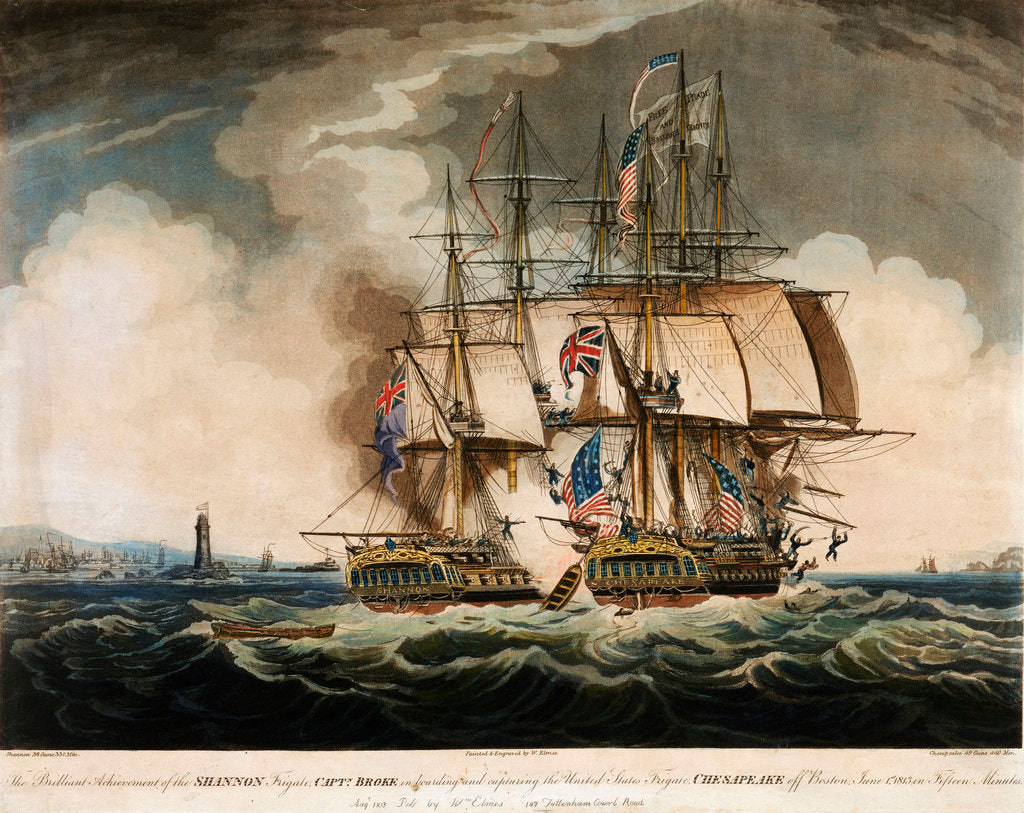Detail of HMS 'Shannon' in battle with the American Frigate 'Chesapeake', 1 June 1813 by W. Elmes