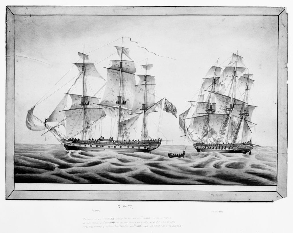 Detail of Capture of the French frigate 'Africaine' by the 'Phoebe', 1 November 1801 by Holt